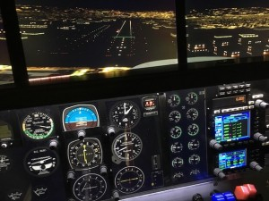 Cockpit view: Beech Baron on the ILS-16R Approach to Van Nuys